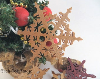 Wood Snowflake Ornaments, Wooden Snowflakes, Star Garland,  Snowflakes, Decorations, Christmas, Yule, Hanukkah, Grahtoe,Handamde Snowflakes
