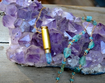 Aqua Aura Crystal Point Bullet Shell Necklace with Raw and Faceted Apatite 14k gold