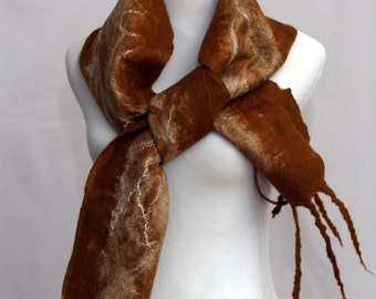 Felted Scarf Nunofelt Scarf Felt Art Deco Felt Shawl Scarves Felt Nunofelt Nuno felt Silk Wool Off White Amber Orange