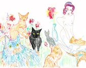 The CAT LADIES Drawing Print / fine art / colour / cat / woman / nude / (size/price range A5-a3)