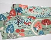 baby blanket, organic baby blanket-  acorn trail, woodland, fox, mint- ready to ship
