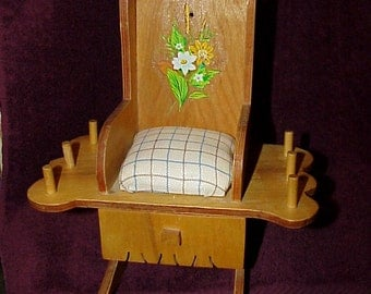 Vintage--Rocking Chair--Pincushion--Thread Holder--Sewing Caddy