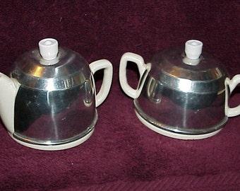 Vintage--Cream And Sugar Set--White Ceramic With Metal Covers--Jackets