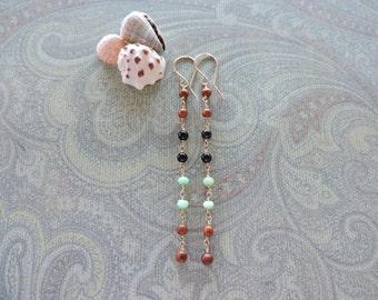 Oceanside earrings - long 14k gold fill wire wrapped gemstone dangles - wood, black onyx, chrysoprase - beach jewelry