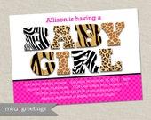 Animal Print Baby Shower Invitation - Hot Pink and Zebra Leopard Giraffe or Tiger Pattern - baby girl shower invite (Printable Digital File)