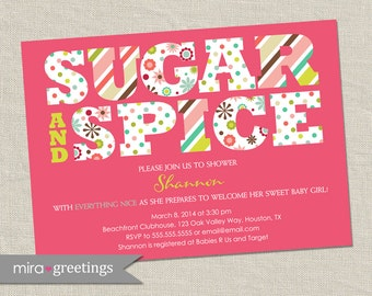 Sugar and Spice Baby Shower Invitation - Printable Digital File