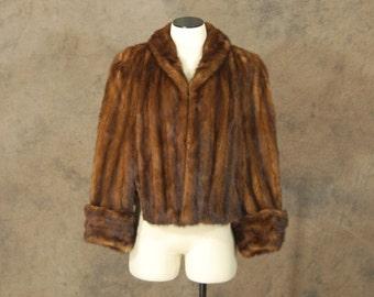 vintage 40s Mink Fur Coat - 1940s Short Swing Coat - Fur Cape Evening Coat Jacket Sz S M