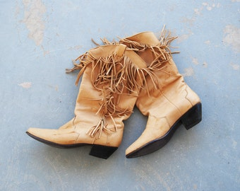 vintage 1980s Fringe Boots - 80s Western Cowgirl Leather Boots - Tan Cowboy Boots Sz 6.5 37