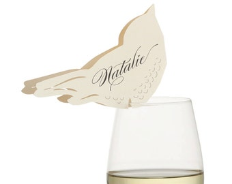 Love Bird Place Cards - cream wedding escort card, table number, robin, sparrow, sweet, romantic, paper bird, 3d, neutral