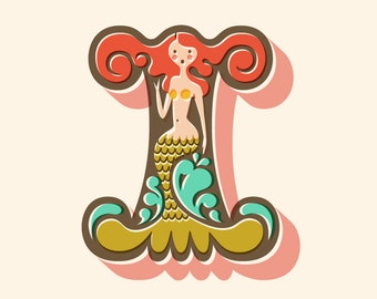 """8X10"""" mermaid letter I giclee print on fine art paper. Coral pink, olive green, turquoise blue, cream background."""