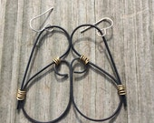Dark Patina Copper Wire  and Brass Earrings Mixed Metals Earrings