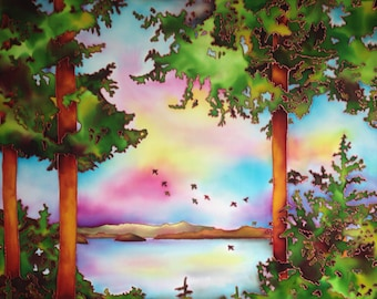 """West Coast Sunset, Hand Dyed and Painted Silk, 24""""x36"""""""