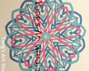 "3 Layers Mandala Style Paper Cut -001, Three layered cuttings, color combined paper cuttings. 8"" x 8"" paper cut, unframed, fit 10""x10"" frame"