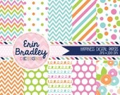 Instant Download Digital Paper Pack Pink Green Blue & Orange Chevron Stripes Flowers Polka Dots and Doodles Commercial Use