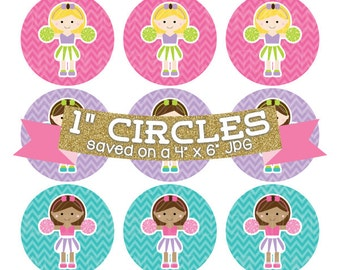 Cheerleaders Digital Bottlecap Images Instant Download Digital Collage Sheet Bottle Cap Graphics One Inch Circles 4x6 JPG
