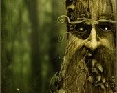 Tree spirit Green man wood - original illustration print