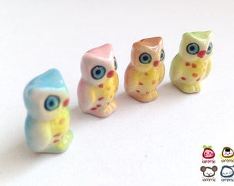 Miniature Owl Figurine, miniature ceramic owl, ceramic owl figure, miniature animal, mini animal, tiny, little owl, decoration, light blue