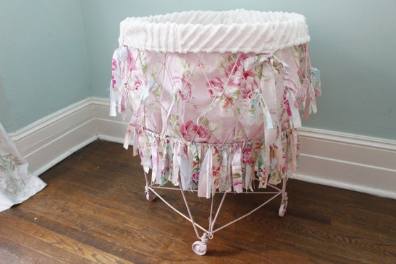 Shabby Chic Laundry Basket Vintage Wire Rags Roses Pink White