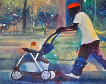On the Stroll Watercolor Painting, African American Art, Contemporary Art,  Abstract Painting, Fine Art, Home Decor Art, Lake House Art