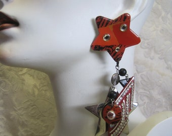 ON HOLD Single Earring: Vintage Assemblage Art to Wear One Statement LONG Dangle Shoulder Duster Stars Red Black Rhinestones 80s Influence