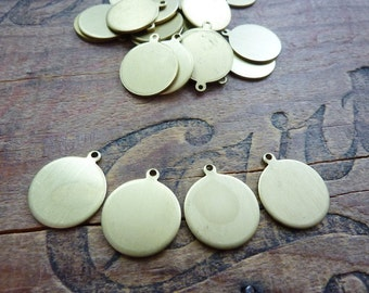 Brass Blank Tag 15mm with Loop (4)