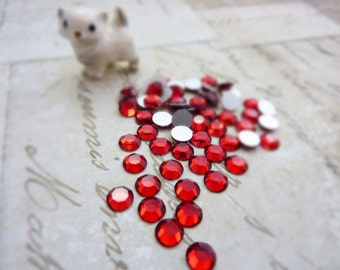 Vintage SS20 4.8mm Glass Chaton Rose Light Siam Red (50)