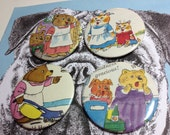 Richard Scarry Mummy Cat & Bear vintage illustration pin badge set x 4 from original 1960s Annual,Red Mutha Mother Daughter unique Xmas gift
