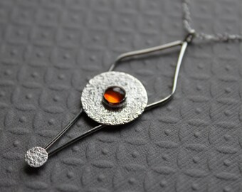 Sterling Silver Necklace - Amber - Pendulum