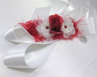 Marsala Red and White Bridal Sash with White Pearls and Silver accents