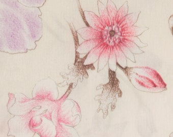 Satin Polyester Fabric, Pink white and Lavender flowers Brown accents Pale pink background  64 inches wide, Sold as one piece