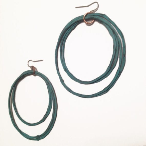 Copper Hoop earrings - Patina Earrings - handmade- turquoise patina - copper jewelry