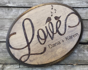 Custom Rustic Engraved & Personalized wood wedding sign plaque, wall art, memorial, wedding gift, shower gift, wedding photo prop, oval sign