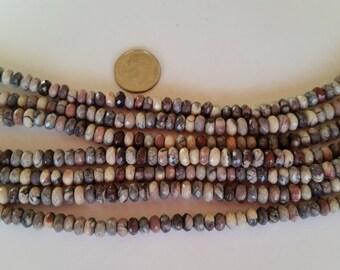 Porcelain Jasper Beads, 3X6mm Faceted Rondell Beads, Jasper Faceted Rondell Beads, Jewelry Supplies