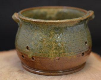 Handmade Ceramic Berry Colander - Antique Blue and Redwood Brown