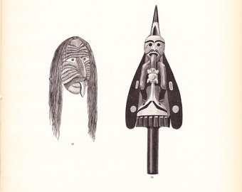 1882 Native American Indian Print - Mask and Rattle - Antique Art Illustration Book Plate History Archaeology Ethnology 100 Years Old