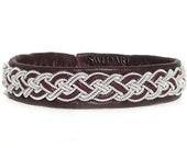 "SwedArt B02 Moose Swedish Reindeer Leather Sami Bracelet with Pewter Braid and Antler Button 3/8"" Wide Dark Brown X-SMALL"