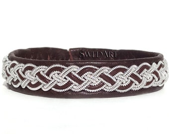 "SwedArt B02 Moose Swedish Reindeer Leather Sami Bracelet with Pewter Braid and Antler Button 3/8"" Wide Dark Brown XX-SMALL"