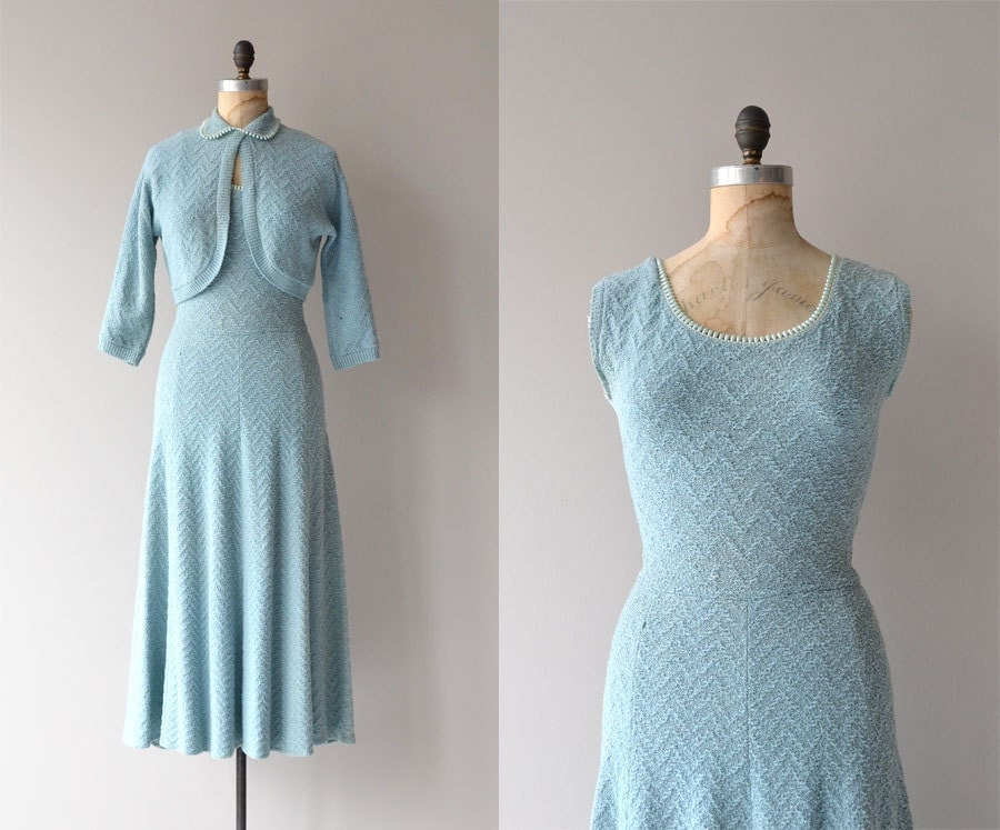Something Blue knit dress vintage 1950s knit dress wool