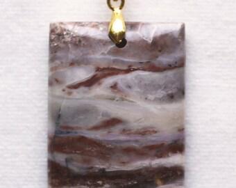 Brown Banded Opal Rectangular Pendant