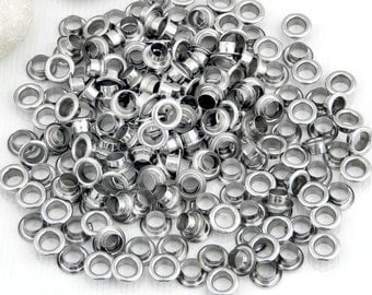 """200pcs Pieces Silver Metal Eyelet Grommet for Leather Craft 0.32"""" JC06"""