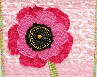 poppy  wall quilt - wall art quilt - single stem fringed poppy in bright pink on pink background with hand embroidery READY TO SHIP