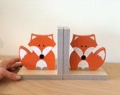 Fox Bookends, Woodland Nursery, Woodland Kids Decor, Fox Nursery, Forest Themed Nursery, eco friendly