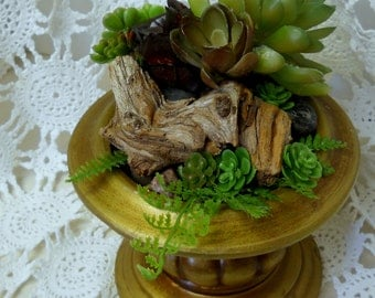 Beautiful Succulents, Driftwood, Ferns and Stones, Burnished Gold Colored Base...Gorgeous Faux Decor Never Dies