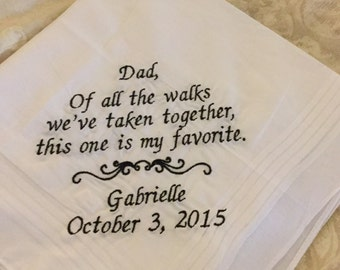 Father of the Bride Personalized Embroidered Handkerchief