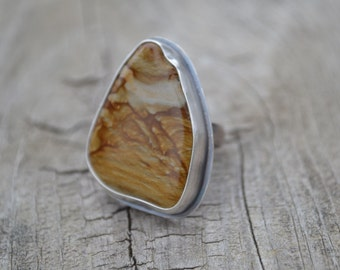Picture Jasper Artisan Sterling Silver Ring, Statement Ring, Handmade, Simple, Earth Stone, USA