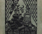 Christmas, 1972, b&w linoleum block print on Acid-free Japanese mulberry paper, printed and signed by the artist