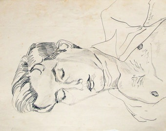 Sleeping,  pencil sketch, drawn & signed by Lagana, Only one