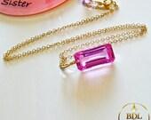 Simplement Magnifique - Hot pink quartz emerald cut briolette on a 14K gold filled chain 20 inches