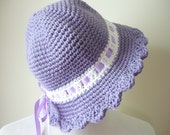 Baby Sun Hat Baby Girl Crochet Cotton Sun Bonnet with Brim and Ribbon Trim - Ready to Ship - Direct Checkout