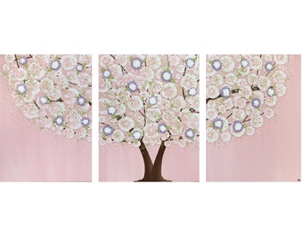 Pink and Purple Nursery Wall Art - Textured Tree Painting Canvas Triptych - Large 50x20